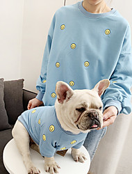 cheap -Dog Cat Costume Shirt / T-Shirt Matching Outfits Embroidered Simple Style Casual / Sporty Sports Casual / Daily Dog Clothes Warm White Black Blue Costume Cotton Women M S M L XL XXL