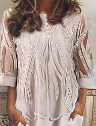 cheap -Women's Causal Lace Blouse - Geometric Gray / Spring / Fall