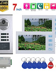 cheap -7inch Record Video Intercom 2 Apartments Video Door Phone Intercom System with  RFID HD1080P Doorbell Waterproof Camera