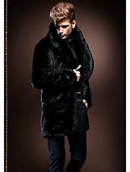 cheap -Men's Daily Winter Regular Faux Fur Coat, Solid Colored Turndown Long Sleeve Faux Fur Black