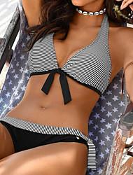 cheap -Women's Basic Black White Purple Halter High Waist Tankini Swimwear Swimsuit - Striped S M L Black