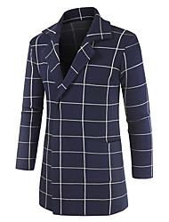 cheap -Men's Daily Fall Long Kimono Jacket, Striped Turndown Long Sleeve Polyester Blue / Khaki