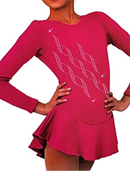 cheap -Figure Skating Dress Women's Girls' Ice Skating Dress Purple Red Blue Spandex High Elasticity Training Competition Skating Wear Crystal / Rhinestone Long Sleeve Ice Skating Figure Skating