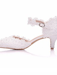 cheap -Women's Wedding Shoes Glitter Crystal Sequined Jeweled Low Heel Pointed Toe Wedding PU White Pink