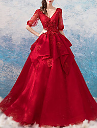 cheap -Ball Gown V Neck Floor Length Polyester Half Sleeve Romantic Plus Size / Red Wedding Dresses with Beading / Appliques 2020