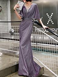 cheap -Sheath / Column Jewel Neck Floor Length Polyester Sexy / Purple Formal Evening / Wedding Guest Dress with Sequin 2020