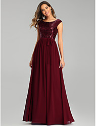 cheap -A-Line Jewel Neck Floor Length Chiffon Bridesmaid Dress with Sequin