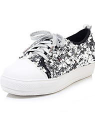 cheap -Women's Sneakers Flat Heel Round Toe Sequin PU Casual Spring & Summer Black / Silver / Color Block