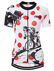 Недорогие -21Grams В точечку Шестерня Жен. С короткими рукавами Велокофты - Красный / Белый Велоспорт Джерси Верхняя часть Дышащий Быстровысыхающий Влагоотводящие Виды спорта Терилен Горные велосипеды Одежда