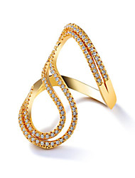 cheap -Women's Ring Cubic Zirconia 1 Piece Gold Gold Plated Geometric Fashion Holiday Daily Wear Jewelry Geometrical Vertical / Gold bar