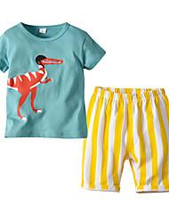 cheap -Kids Boys' Basic Christmas Home Dinosaur Print Print Short Sleeve Regular Regular Clothing Set Light Blue