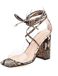 cheap -Women's Sandals Print Shoes Block Heel Open Toe PU Minimalism Spring & Summer Blue / Brown / Beige / Party & Evening / Party & Evening