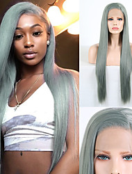 cheap -Synthetic Lace Front Wig Natural Straight Silky Straight Side Part Lace Front Wig Long Green Synthetic Hair 18-24 inch Women's Cosplay Heat Resistant Party Green / Natural Hairline