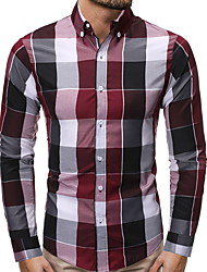 cheap -Men's Daily Shirt - Plaid Blue