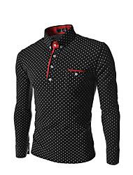cheap -Men's Polka Dot Slim Shirt Basic Daily Black / Long Sleeve