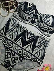 cheap -Women's Basic Black Halter Cheeky High Waist Bikini Swimwear - Check Tribal Print S M L Black