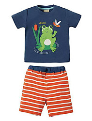 cheap -Kids Boys' Chinoiserie Striped Short Sleeve Clothing Set Royal Blue