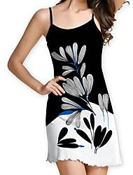 cheap -Women's Black Dress A Line Floral Strap S M
