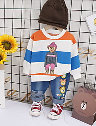 cheap -Baby Boys' Casual Striped Hole / Print Long Sleeve Long Regular Clothing Set Royal Blue