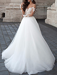 cheap -A-Line Strapless Floor Length Lace / Tulle Long Sleeve Formal Illusion Sleeve Wedding Dresses with Draping / Appliques 2020