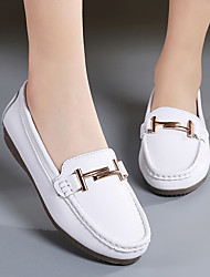cheap -Women's Loafers & Slip-Ons Flat Heel Round Toe Cowhide Casual / Minimalism Walking Shoes Spring & Summer / Fall & Winter Black / White / Beige