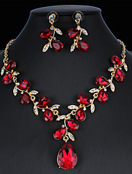 cheap -Women's Hoop Earrings Necklace Bridal Jewelry Sets Classic Drop Pear Stylish Basic Elegant Earrings Jewelry Peacock Blue / White / Dark Red For Wedding Party Engagement One-piece Suit