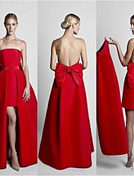 cheap -Sheath / Column Strapless Short / Mini Satin Cute / Elegant Prom / Quinceanera Dress with Bow(s) / Sash / Ribbon 2020