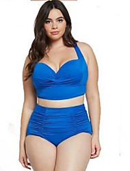cheap -Women's Basic Black Fuchsia Blue Bandeau Cheeky High Waist Bikini Swimwear Swimsuit - Floral Geometric Lace up Print L XL XXL Black