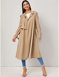 cheap -Women's Holiday / Going out Basic Fall & Winter Long Trench Coat, Solid Colored Sun Flower V Neck Long Sleeve Faux Linen Beige