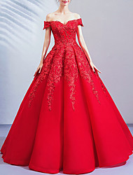 cheap -Ball Gown Wedding Dresses Off Shoulder Floor Length Lace Cap Sleeve Romantic Plus Size Red with Crystals 2020