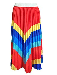 cheap -Women's Date / Street Basic / Street chic Bloomers Skirts - Striped / Color Block Pleated Red Green Rainbow S M L