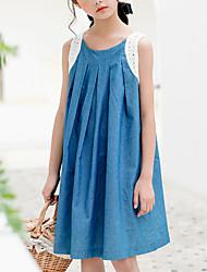 cheap -Kids Girls' Basic Boho Solid Colored Bow Sleeveless Knee-length Dress Blue