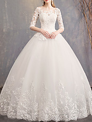 cheap -Ball Gown Wedding Dresses Jewel Neck Court Train Lace Tulle Half Sleeve Country Plus Size Illusion Sleeve with Lace Insert 2020