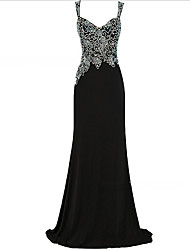 cheap -A-Line V Neck Sweep / Brush Train Tulle / Velvet Regular Straps Formal Black Wedding Dresses with Beading / Appliques 2020