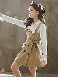 cheap -Kids Girls' Basic Color Block Long Sleeve Clothing Set Beige