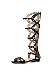 cheap -Women's Sandals Flat Heel Open Toe PU Casual / Preppy Spring & Summer Black / Brown / Gray