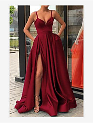 cheap -A-Line V Neck Sweep / Brush Train Jersey Sexy / Red Formal Evening / Quinceanera Dress with Split Front / Pleats 2020