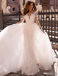 cheap -Mermaid / Trumpet V Neck Court Train Lace Long Sleeve Formal / Romantic / Casual Made-To-Measure Wedding Dresses with 2020