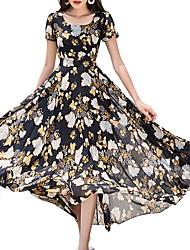 cheap -Women's White Black Dress A Line Geometric U Neck M L