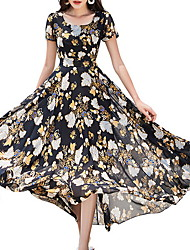 cheap -Women's A Line Dress - Short Sleeve Geometric U Neck White Black M L XL XXL XXXL