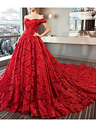 cheap -A-Line Wedding Dresses Off Shoulder Court Train Sequined Polyester Short Sleeve Romantic Plus Size Red with Beading 2020