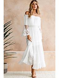 cheap -Women's Maxi Swing Dress - Solid Color Off Shoulder White S M L XL