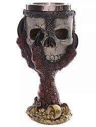 cheap -200ml 3D Skull Drinking Mug Double Wall Resin Stainless Steel Dragon Bone Skull Metal Wine Goblet Cup Halloween