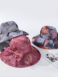 Недорогие -Жен. Активный Классический Симпатичные Стиль Широкополая шляпа Шляпа от солнца Хлопок,Контрастных цветов Весна Лето Лиловый Оранжевый Желтый
