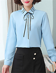cheap -Women's Daily Work Chinoiserie Shirt - Solid Colored Lace up White