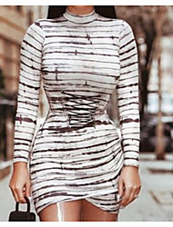 cheap -Women's Sheath Dress - Stripes White M L XL XXL