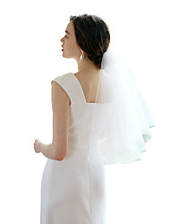 cheap -Two-tier Sweet Wedding Veil Shoulder Veils with Solid Tulle