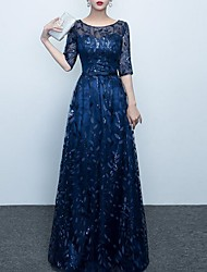 cheap -A-Line Jewel Neck Floor Length Polyester Elegant Prom / Formal Evening Dress with Embroidery 2020
