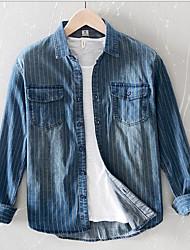 cheap -Men's Daily Plus Size Linen Shirt - Striped Black / Long Sleeve