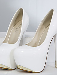 cheap -Women's Heels Stiletto Heel Round Toe PU Spring & Summer Black / White / Red / Daily / 3-4